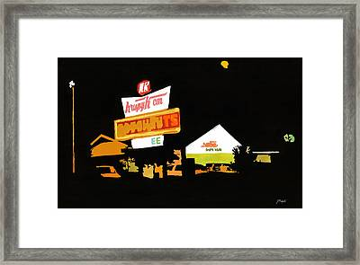 Krispy Kreme At Night Framed Print