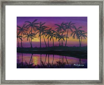 Framed Print featuring the painting Kristine's Sunset by Amelie Simmons