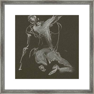 Kroki-2015-04-11-figure-drawing-white-chalk-marica-ohlsson-marica-ohlsson Framed Print