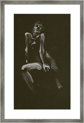 Kroki 2014 10 18_3 Figure Drawing White Chalk Framed Print