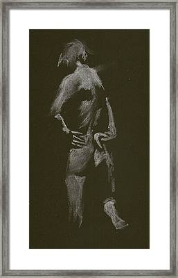 Kroki 2015 01 10_7 Figure Drawing White Chalk Framed Print