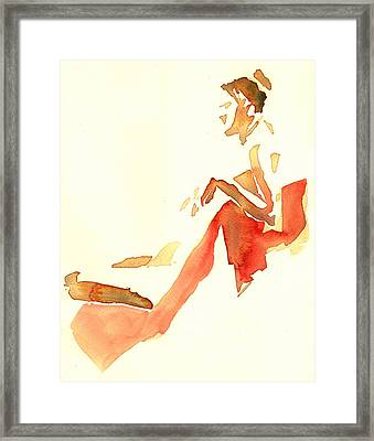 Kroki 2015 03 28_29 Maalarhelg 4 Akvarell Watercolor Figure Drawing Framed Print