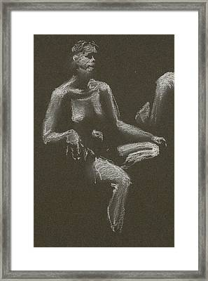 Kroki 2015 04 25 _3 Figure Drawing White Chalk Beskuren Framed Print