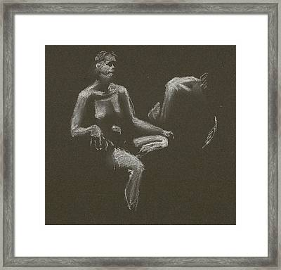Kroki 2015 04 25 _3 Figure Drawing White Chalk Framed Print