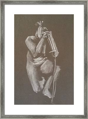 Kroki 2015 06 18_4 Figure Drawing Chinese Sword White Chalk Framed Print