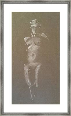 Kroki 2015 06 18_6 Figure Drawing White Chalk Framed Print
