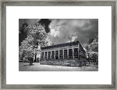Framed Print featuring the photograph Kron Greenhouse Morrow Mountain North Carolina Bw by Dan Carmichael