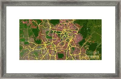 Kuala Lumpur, Map, Abstract, Green And Yellow Framed Print