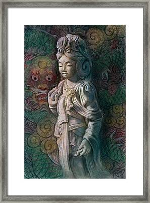 Kuan Yin Dragon Framed Print by Sue Halstenberg