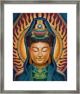 Kuan Yin Flame Framed Print by Sue Halstenberg