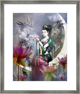 Kuan Yin Lotus Of Healing Framed Print