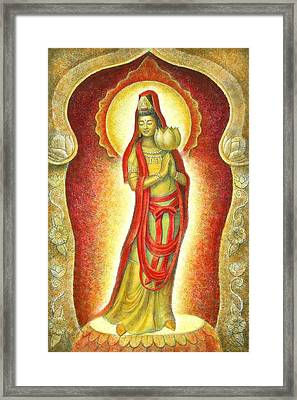 Kuan Yin Lotus Framed Print by Sue Halstenberg