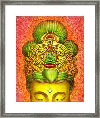 Kuan Yin's Buddha Crown Framed Print by Sue Halstenberg