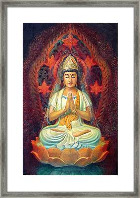 Kuan Yin's Prayer Framed Print by Sue Halstenberg