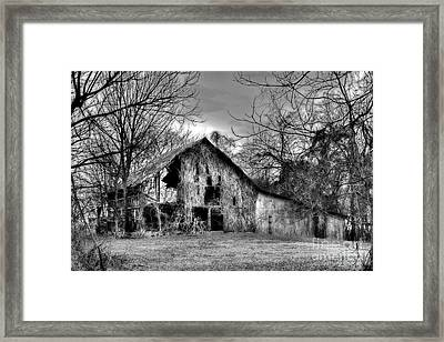 Framed Print featuring the photograph Kudzu Covered Barn In The Mississippi Delta by T Lowry Wilson