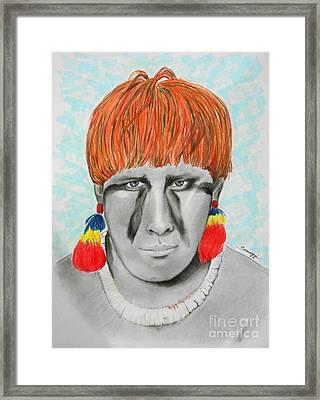 Kuikuro From Brazil -- Portrait Of South American Tribal Man Framed Print