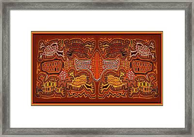 Kuna Indian Demon Spirits Framed Print by Vagabond Folk Art - Virginia Vivier