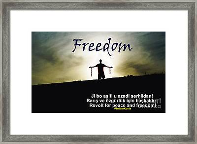 Kurdish Peace And Freedom Poster Framed Print
