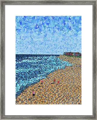 Kure Beach - A View From The Pier Framed Print by Micah Mullen