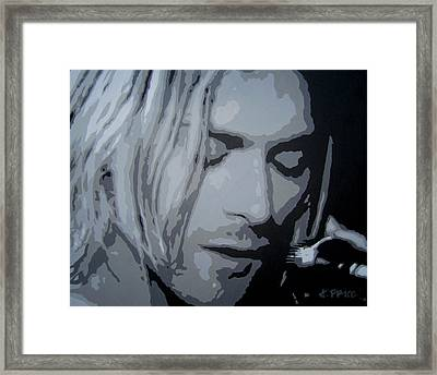 Framed Print featuring the painting Kurt Cobain by Ashley Price