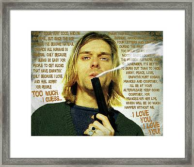 Kurt Cobain Nirvana With Gun And Suicide Note Painting Macabre 1 Framed Print by Tony Rubino
