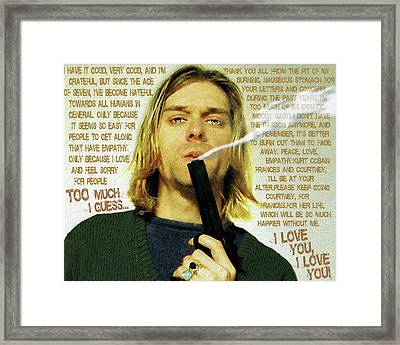 Kurt Cobain Nirvana With Gun And Suicide Note Painting Macabre 2 Framed Print by Tony Rubino