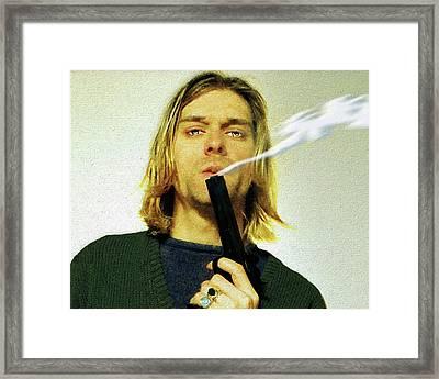 Kurt Cobain Nirvana With Gun Painting Macabre 1 Framed Print by Tony Rubino