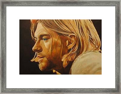 Kurt Cobain Unplugged Framed Print by David Dunne