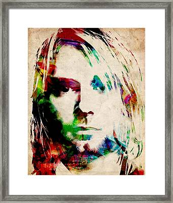 Kurt Cobain Urban Watercolor Framed Print by Michael Tompsett