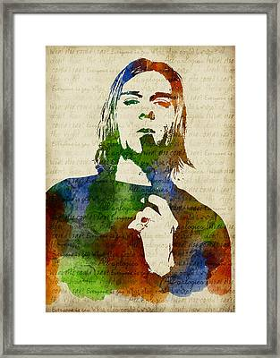 Kurt Cobain Watercolor Framed Print