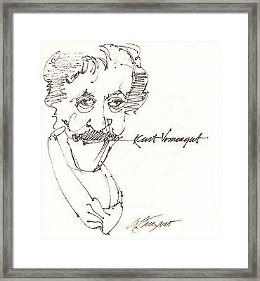Kurt Vonnegut Framed Print by Donna Frizano Leonetti