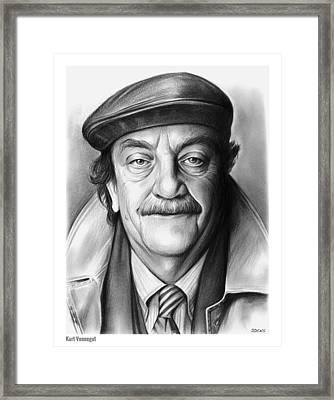 Kurt Vonnegut Framed Print by Greg Joens