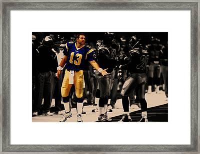 Kurt Warner Giving Dap Framed Print