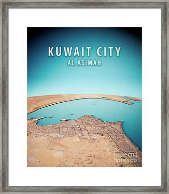 Kuwait City 3d Render Satellite View Topographic Map Vertical Framed Print
