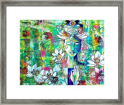 Framed Print featuring the painting Kwan Yin by Julie Hoyle