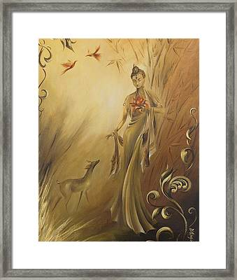 Framed Print featuring the painting Kwan Yins Garden by Dina Dargo