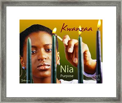 Kwanzaa Nia Framed Print by Shaboo Prints