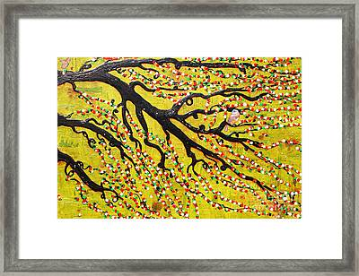 Framed Print featuring the mixed media Kyoto Blossoms by Natalie Briney