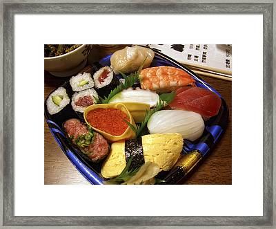 Kyoto Japan Economy Sushi Plate Framed Print by Daniel Hagerman
