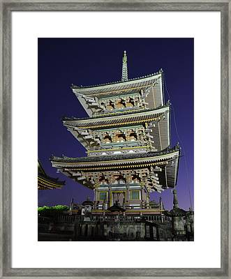 Kyoto Shrine At Night Framed Print