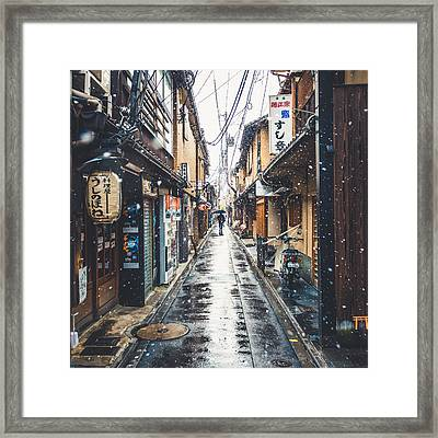 Kyoto Snow Day Framed Print by Cory Dewald