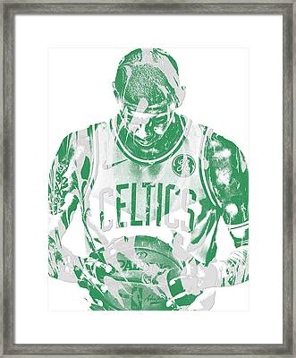 Kyrie Irving Boston Celtics Pixel Art 5 Framed Print