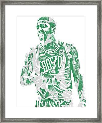 Kyrie Irving Boston Celtics Pixel Art 7 Framed Print