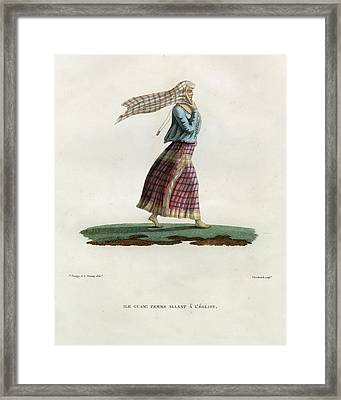 Framed Print featuring the drawing L Ile Guam Femme Allant A  L Eglise by Jacques Arago