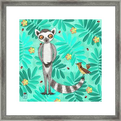 L Is For Lemur And Lark Framed Print by Valerie Drake Lesiak