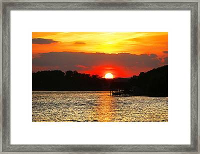 Bloody Red Sunset Smith Mountain Lake Framed Print