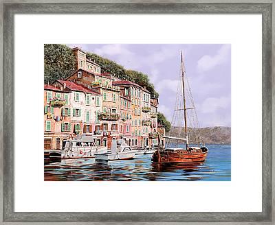 La Barca Rossa Alla Calata Framed Print by Guido Borelli