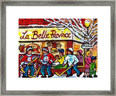 La Belle Province Verdun Montreal Restaurant Painting Hockey  Canadian Winter Scene Carole Spandau Framed Print