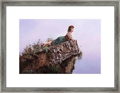 La Bimba Sulla Scoglio Framed Print by Guido Borelli