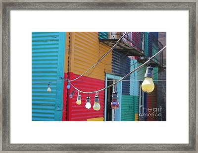 Framed Print featuring the photograph La Boca Lightbulbs by Wilko Van de Kamp
